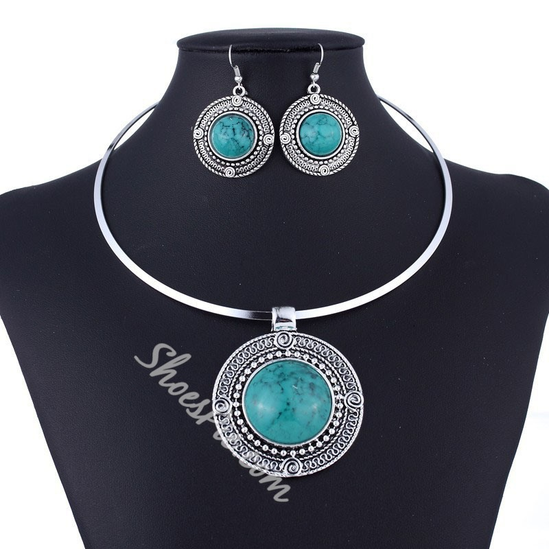 Geometric Necklace Gemmed Party Jewelry Sets