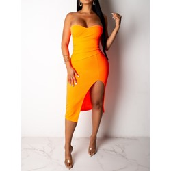 Split Mid-Calf Sleeveless Women's Bodycon Dress