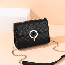 Shoespie Lock PU Plain Crossbody Bags