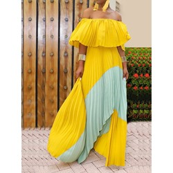 Patchwork Floor-Length Off Shoulder Cold Shoulder Women's Dress
