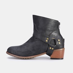 Shoespie Vintage Back Zipper Ankle Boots