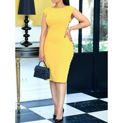 Round Neck Knee-Length Office Lady Women's Bodycon Dress
