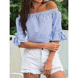 Bowknot Color Block Flare Sleeve Short Women's Blouse