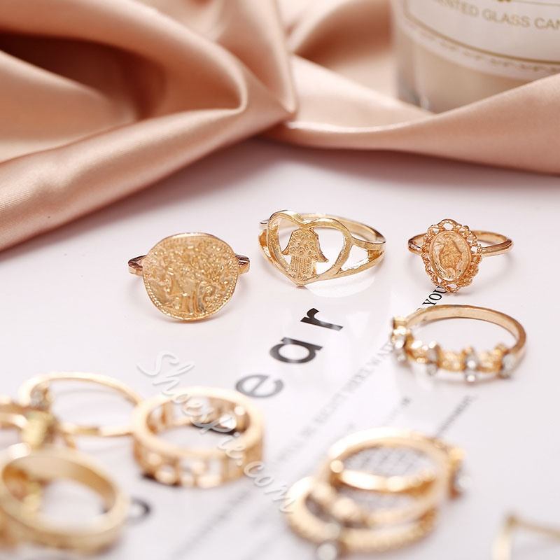 Alloy Diamante Romantic Anniversary Rings