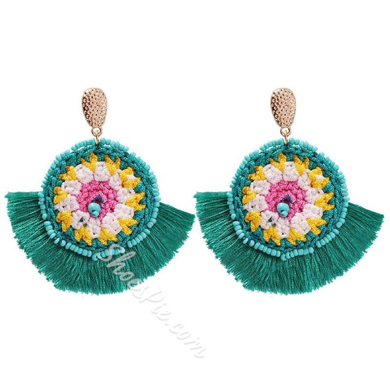 Handmade Color Block Alloy Gift Earrings