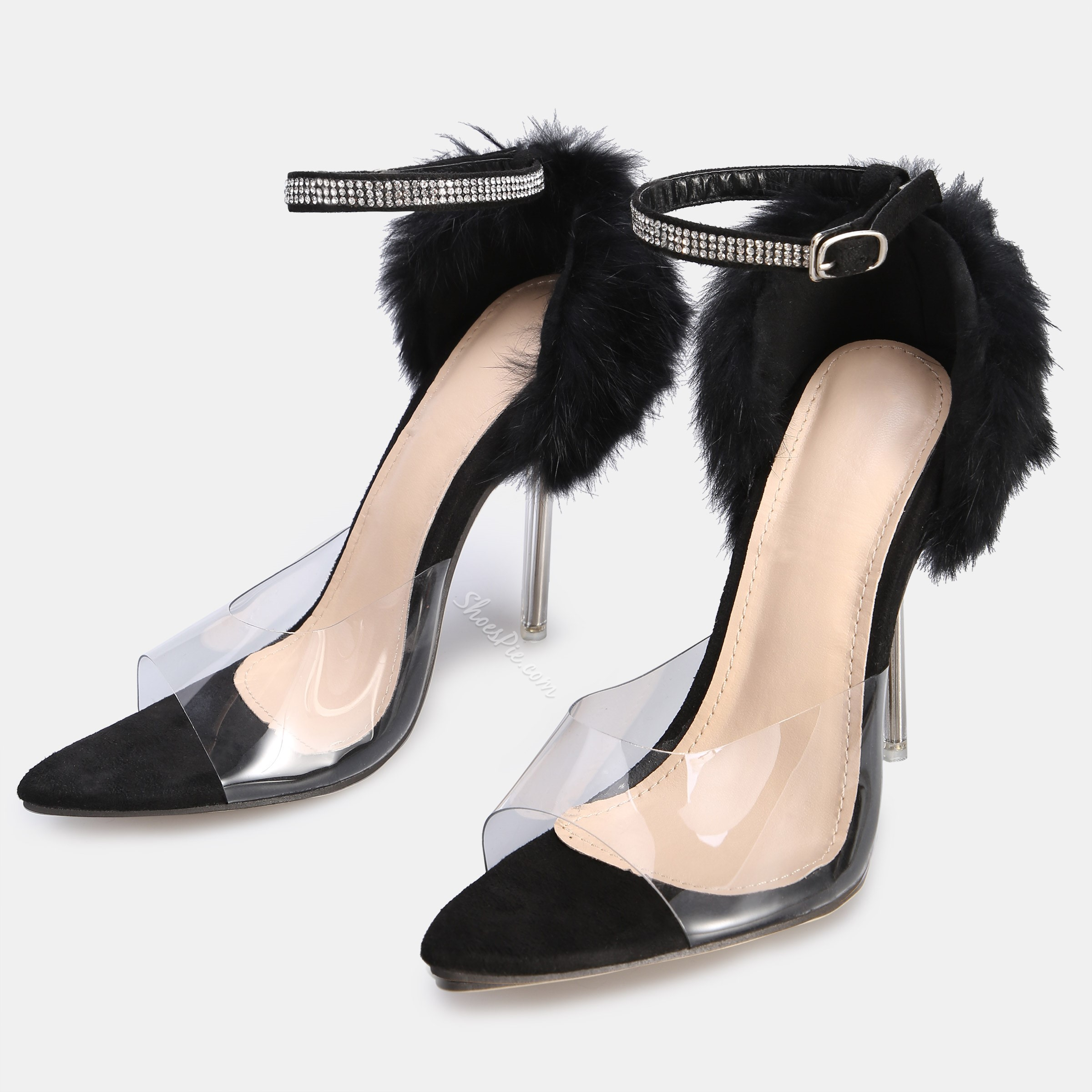Shoespie Beaded Fluffy Stiletto Heel Buckle Clear Sandals