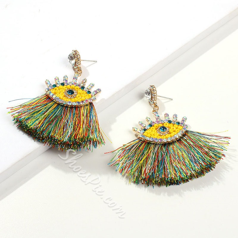 Color Block Ethnic Diamante Party Earrings
