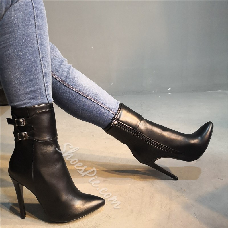 Shoespie Zipper Pointed Toe Buckle Ankle Boots