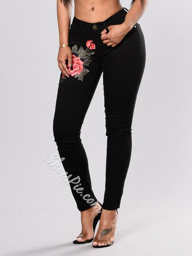 Pencil Pants Embroidery Floral Skinny Women's Jeans
