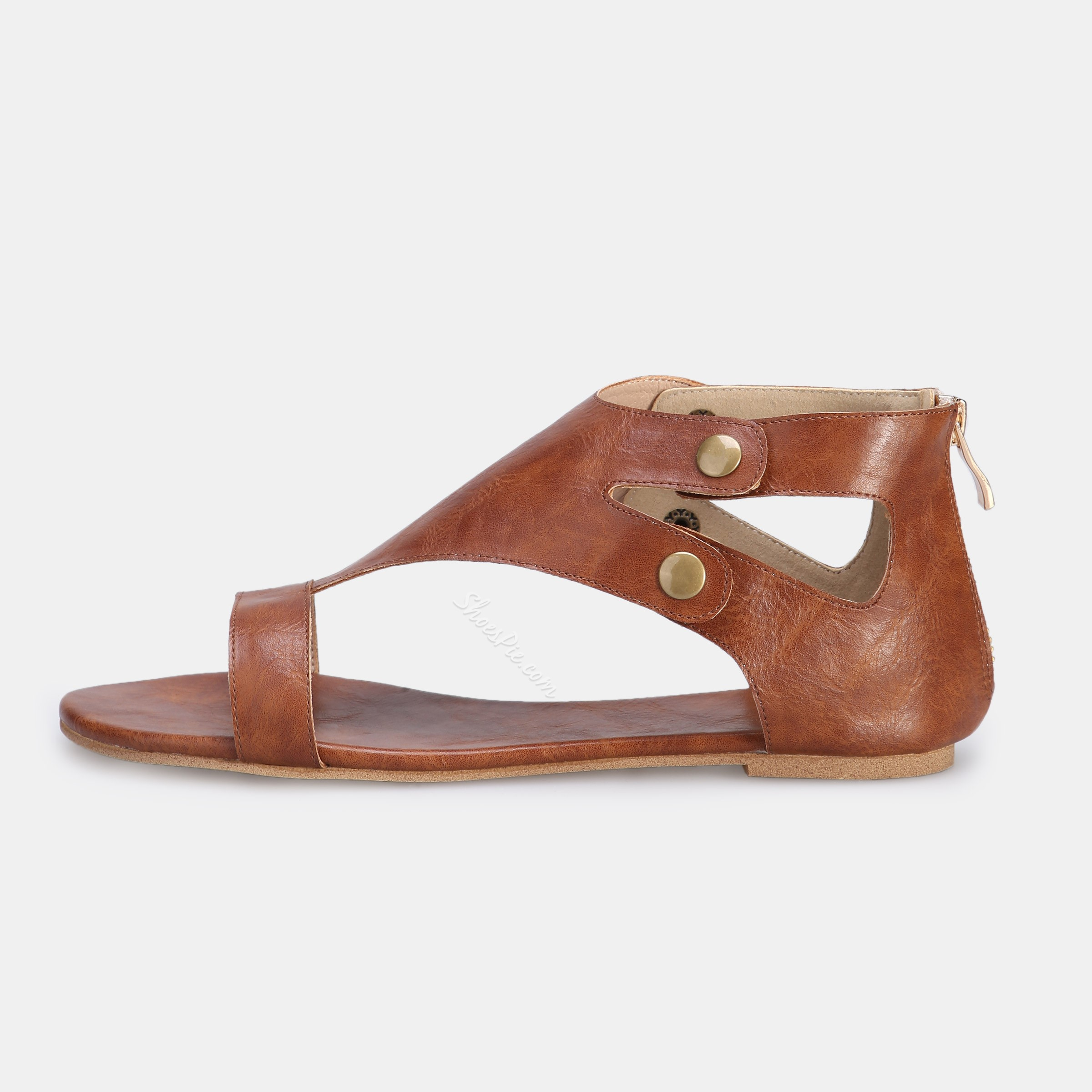 Shoespie Brown Rivets Heel Covering Flat Sandals