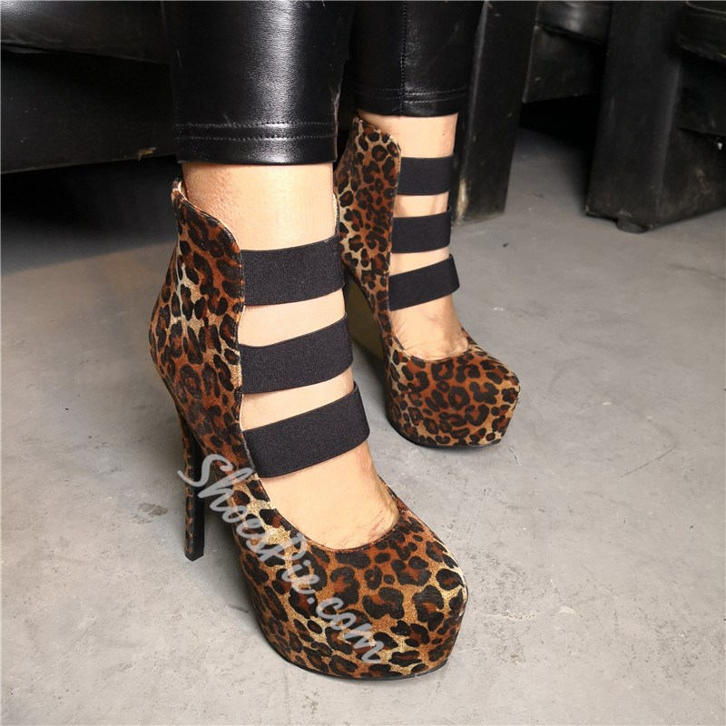 Shoespie Leopard Platform Stiletto Heel Zipper Boots