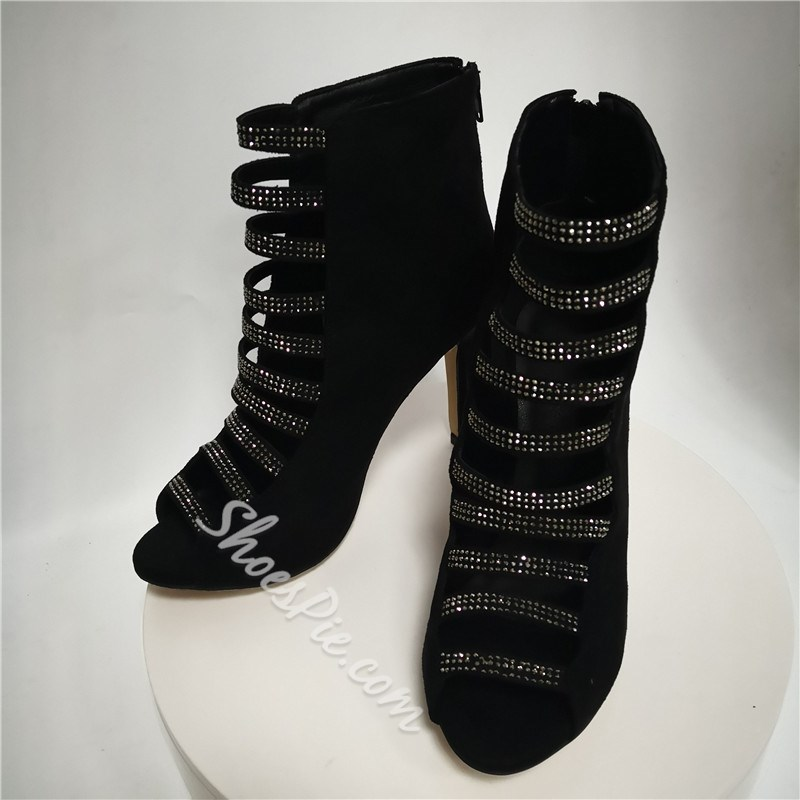 Shoespie Open Toe Zipper Rhinestone Boots