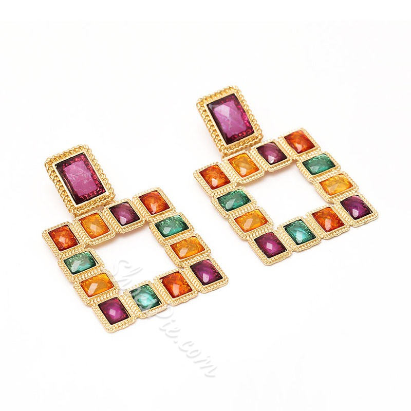 European Color Block Alloy Prom Earrings