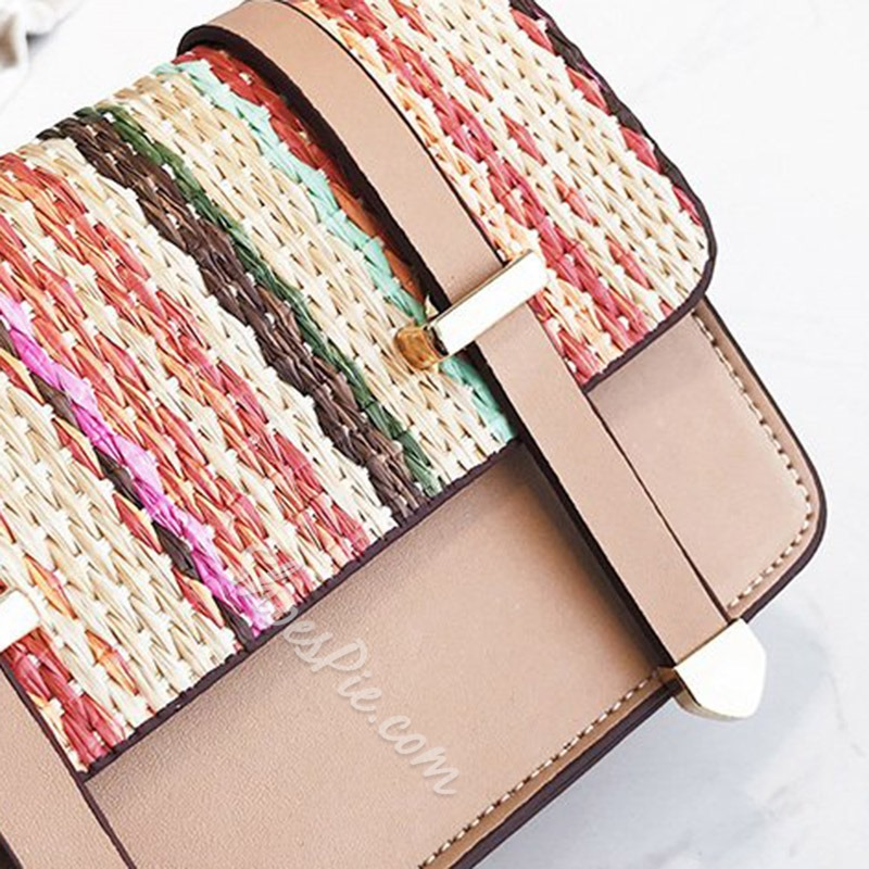 Shoespie PU Weaving Patchwork Crossbody Bags