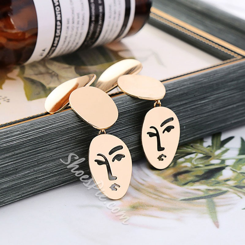Facial Mask Bronze European Gift Earrings