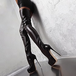 Shoespie Black Thigh High Platform High Heel Boots