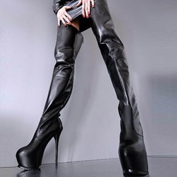 Shoespie Black Zipper High Heel Boots