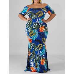 Plus Size Off Shoulder Short Sleeve Plant Print Floor-Length Women's Dress