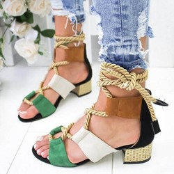 Shoespie Chunky Heel Lace-Up Casual Sandals