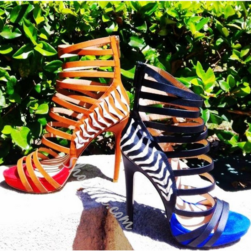 Shoespie Trendy Zipper Stiletto Heel Sandals