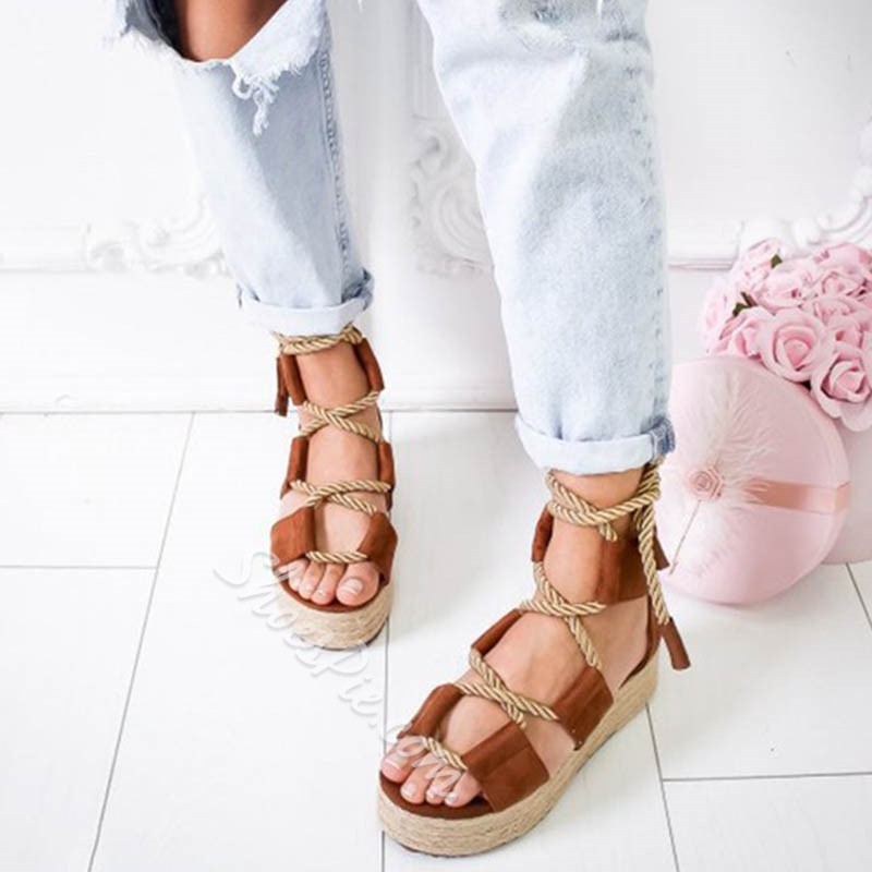 Shoespie Wedge Heel Lace-Up Hollow Sandals