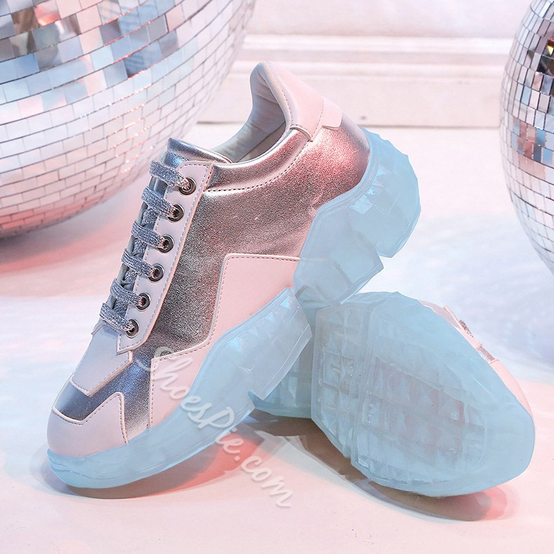 Shoespie Rhinestone Lace-Up Chunky Sneakers