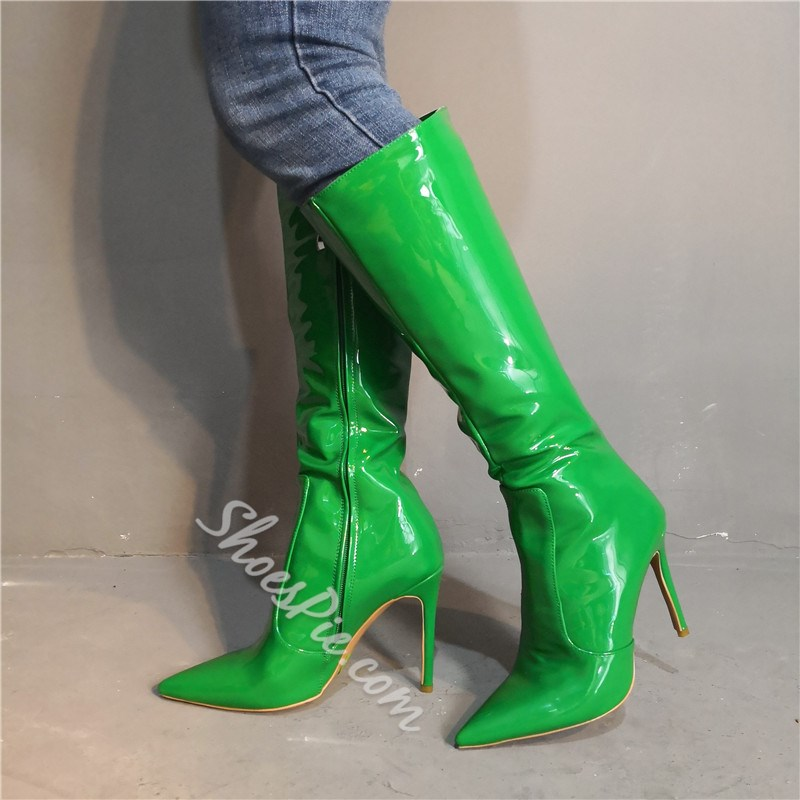 Shoespie Black Pointed Toe Side Zipper Knee High Boots