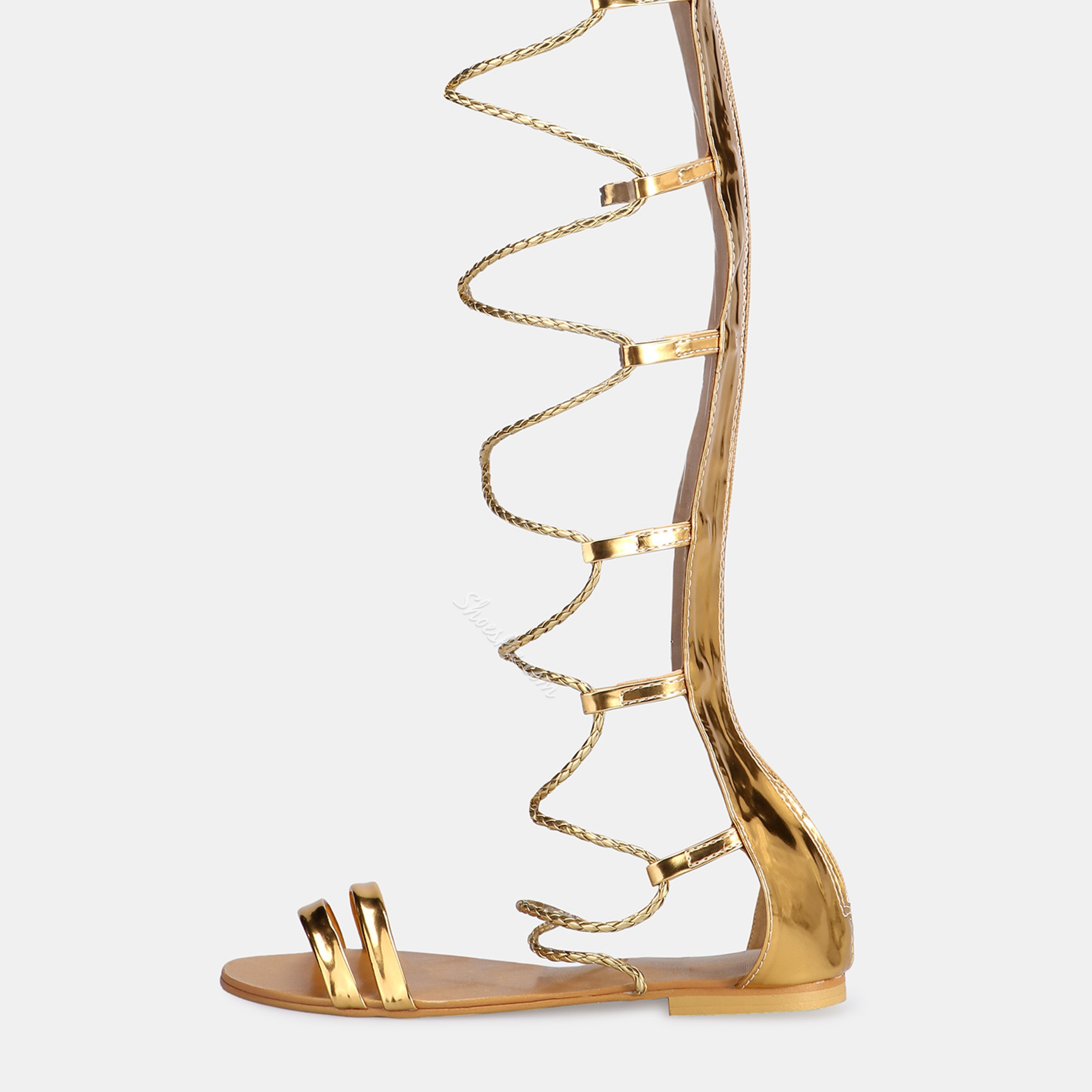Shoespie Lace-Up High Shaft Golden Gladiator Sandals