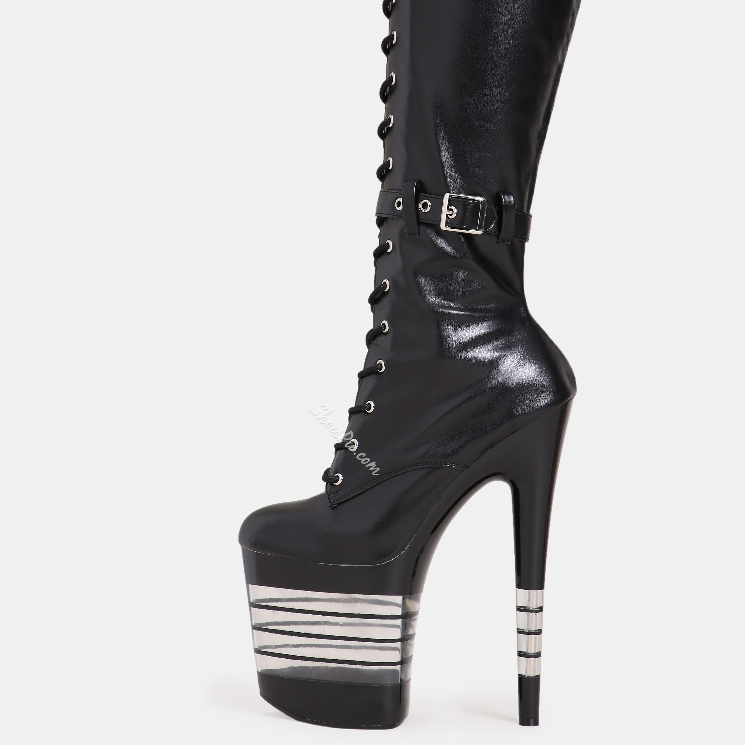Shoespie Cross Strap Stiletto Heel Platform Buckle Knee High Boots