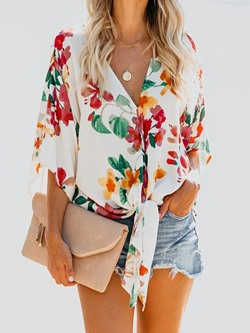 V-Neck Print Floral Three-Quarter Sleeve Women's Blouse