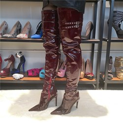 Shoespie Stylish Pointed Toe Side Zipper Buckle Boots