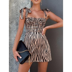 Sleeveless Lace-Up Square Neck Women's A-Line Dress