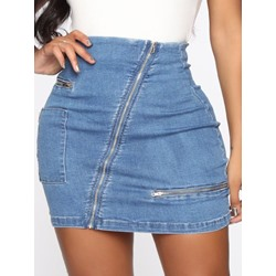 Mini Skirt Bodycon Plain High Waist Women's Skirt