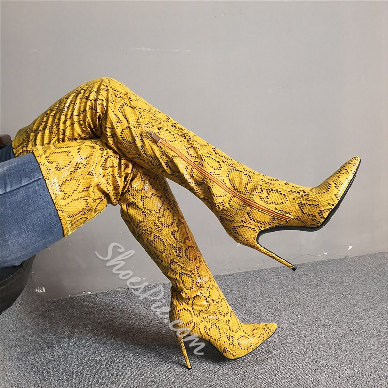 Shoespie Yellow Pointed Toe Zipper Serpentine Thigh High Boots