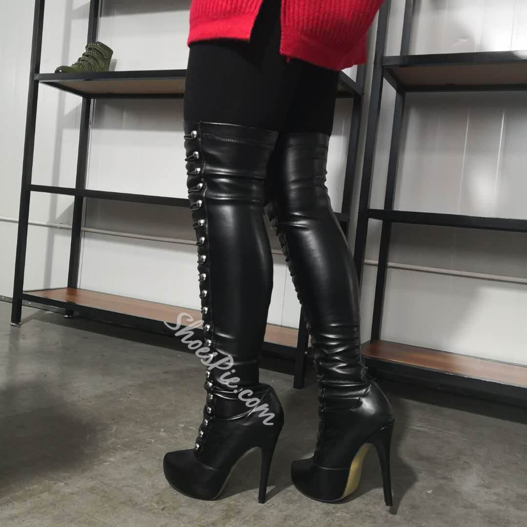 Shoespie Stylish Round Toe Side Zipper Buckle Boots