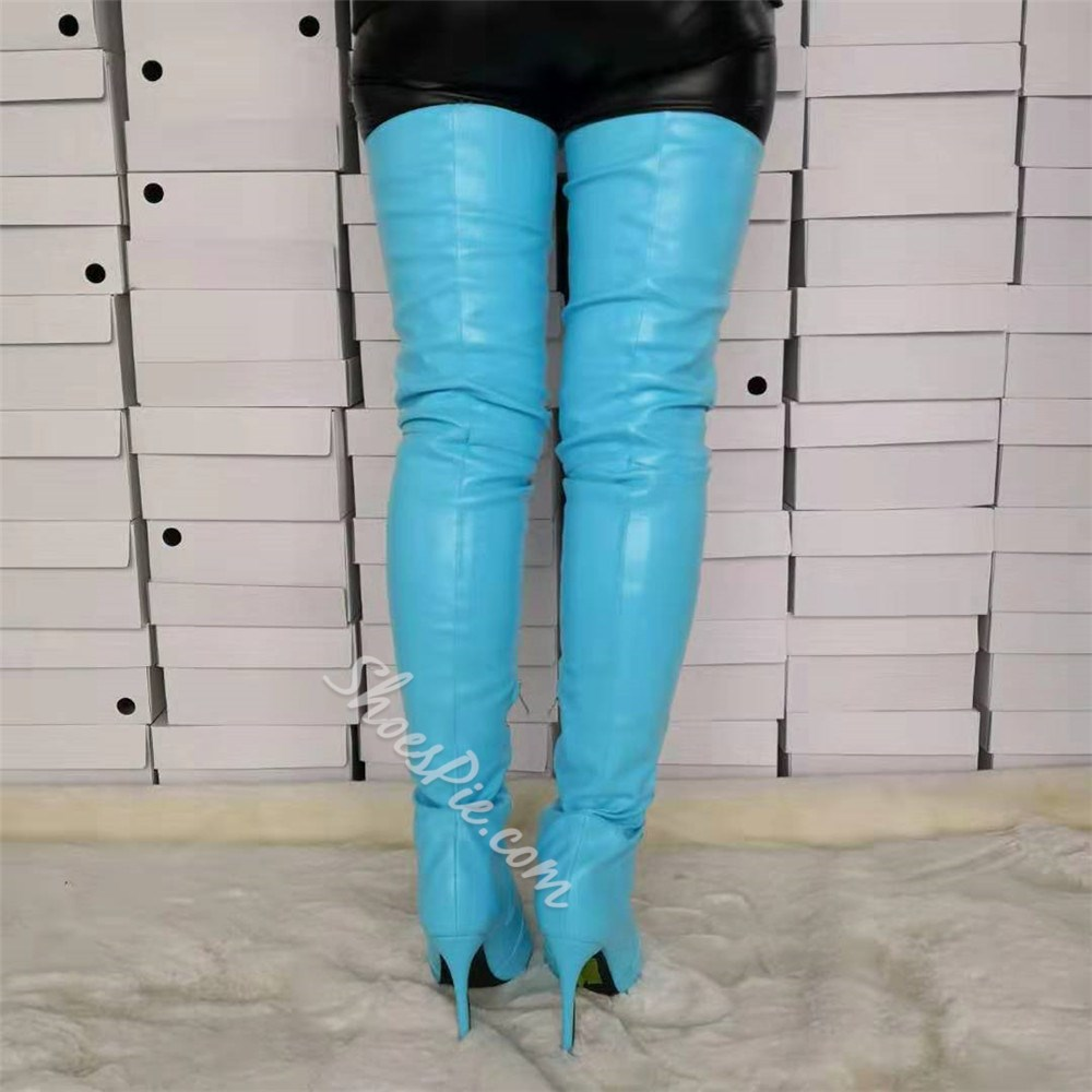 Shoespie Pointed Toe Side Zipper Thigh High Boots
