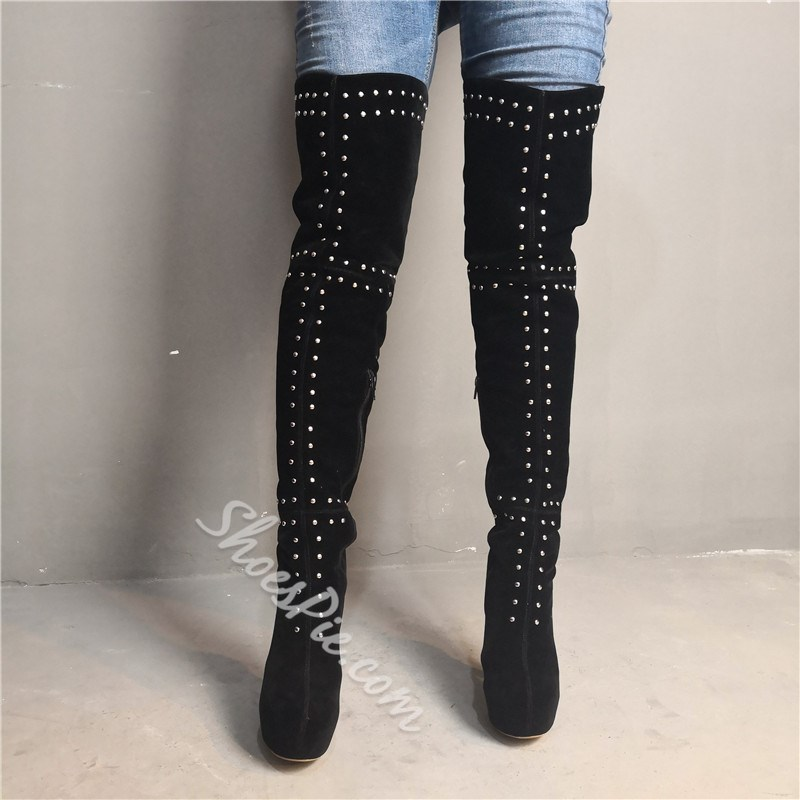 Shoespie Platform Zipper Rivet Thigh High Boots