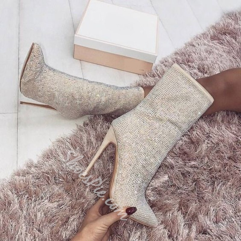 Shoespie Rhinestone Square Toe Ankle Boots