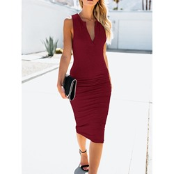 Sleeveless Mid-Calf Pleated Women's Bodycon Dress