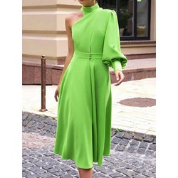 Mid-Calf Long Sleeve Turtleneck Women's A-Line Dress