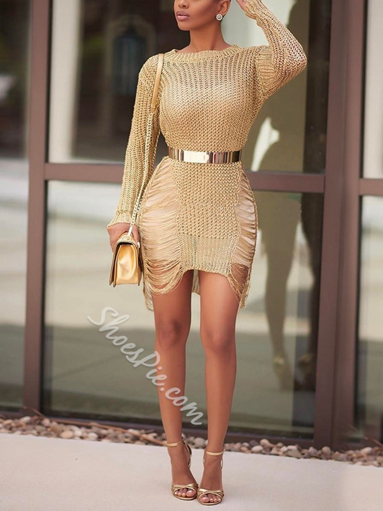 Hollow Long Sleeve Above Knee Mid Waist Women's Dress