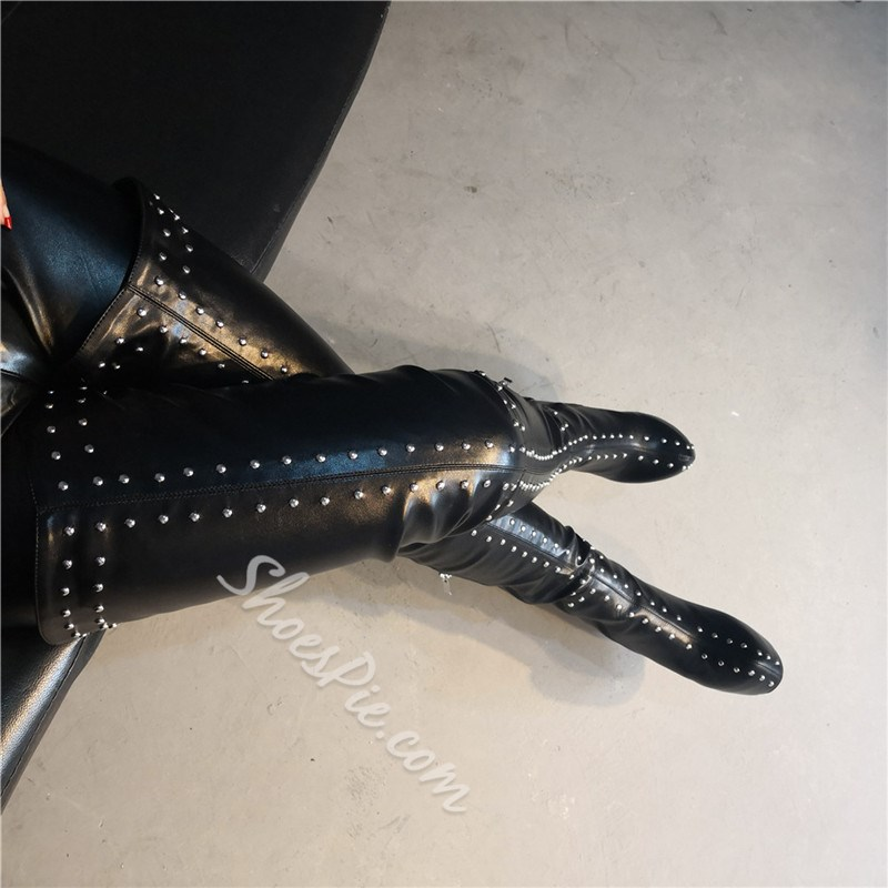 Shoespie Trendy Side Zipper Round Toe Rivet Boots