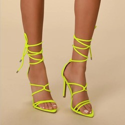 Shoespie Strappy Lace-Up Stiletto Heel Sandals