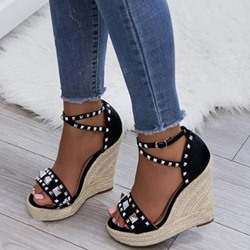 Shoespie Beaded Black Buckle Wedge Heel Sandals
