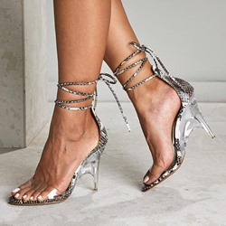 Shoespie Snakeskin Strappy Clear Kitten Heel Sandals