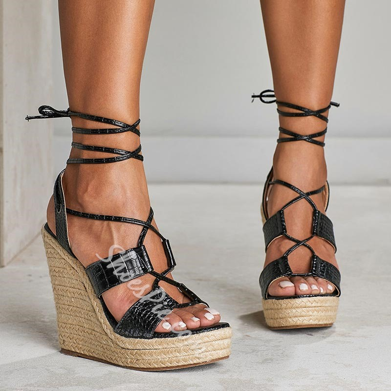 Shoespie Wedge Heel Strappy Black Sandals