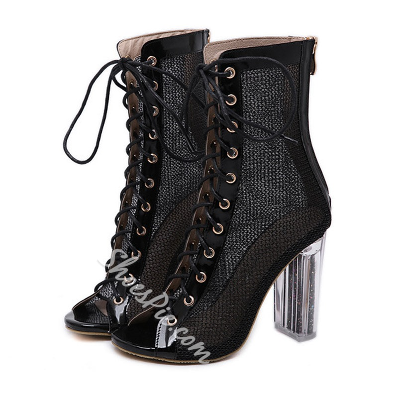 Shoespie Peep Toe Zipper Chunky Heel Clear Ankle Boots
