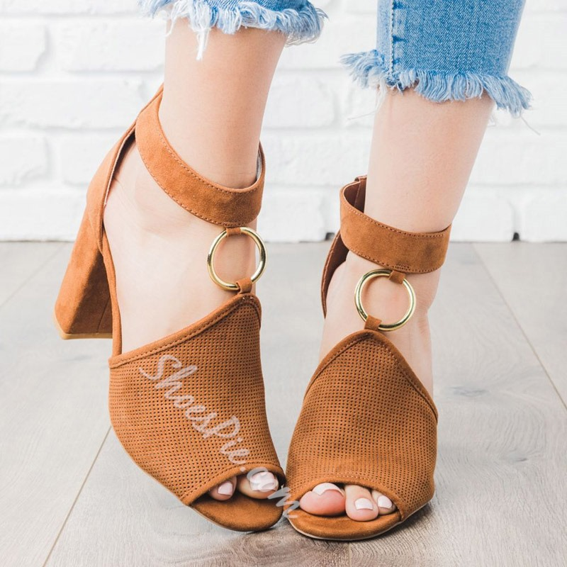 Shoespie Trendy Zipper Peep Toe Sandals