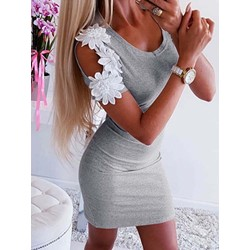 Short Sleeve Appliques Pullover Women's Bodycon Dress