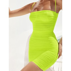 Above Knee Sleeveless Pleated Pullover Women's Bodycon Dress